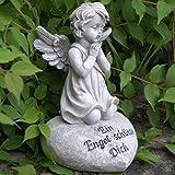 Engel betend auf Herz mit Inschrift Ein Engel schütze Dich. Höhe 18,5cm