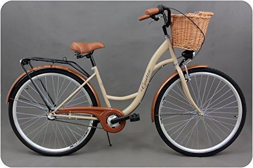Goetze Classic 28 Damen Citybike Stadtrad Damenfahrrad Damenrad Hollandrad Retro-Design 3-Gang Korb Hinterradbremse LED-Beleuchtung Cappuccino