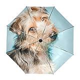ALAZA Netter Yorkshire-Terrier-Hund Regenschirm Reise Auto Öffnen Schließen UV-Schutz Windsicher