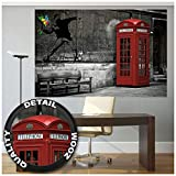 Cabina telefónica roja Londres Inglaterra, Love is in the air fotomurales decoración de la pared by GREAT ART (210 x 140 cm)