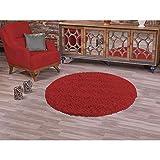 PANNOBELLO Shaggy Hochflor Teppich Rot 120 x 120 cm, rund Langflor Teppiche Pflegeleicht Uni Farben Unifarben