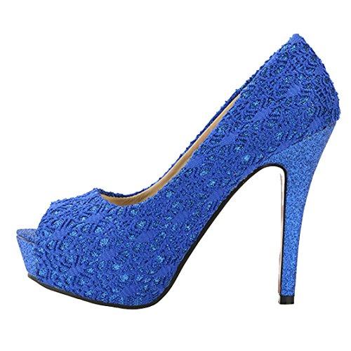 AIYOUMEI Damen Peep Toe Stiletto Extrem High Heels Spitze Pumps mit Plateau und 12cm Absatz Elegant Party Schuhe Blau