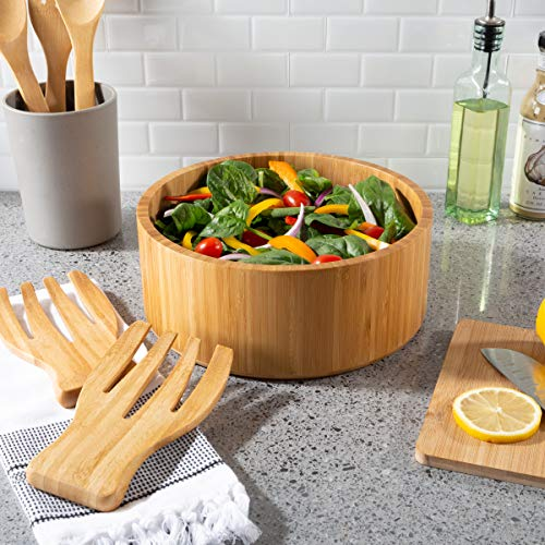 Classic Cuisine 82-KIT1114 Salatschüssel aus Bambus mit Utensilien - FDA-zertifiziertes modernes rundes Geschirr aus Holz, umweltfreundlich und bakterienresistent (Schüssel Mittelstück Runde)