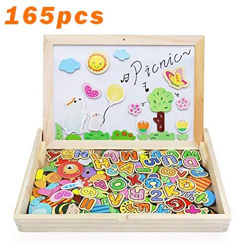 Magnetische Holzpuzzles Spiele Lernspiel Tafel aus Holz Doppelseitiges Zeichnung Puzzle mit Kreiden und Stift für Kinder Jungs Mädchen 3 4 5 Jahren Alt