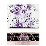 L2W Coque MacBook Air Occasion Prix Laptop Ordinateur Case Plastique Coque Rigide Housse pour Apple MacBook Air 11 pouces [Modèle:A1370/A1465] Incluant Transparent couvercle du clavier,Wisteria