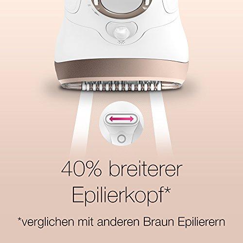 Braun Silk-épil 9 Damen Epilierer 9-561, mit 6 Extras, inkl. Rasieraufsatz, Trimmeraufsatz, weiß/gold
