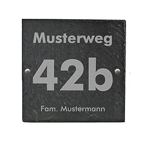 Haustürschild Hausnummer Hausschild aus Schiefer incl. individuellem wetterfestem Druck und Befestigungsmaterial in versch. Größen, Größe:200 x 200 mm