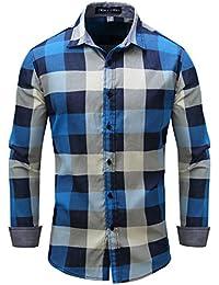 QUICKLYLY Camisa Casual Para Hombres Camisas a Cuadros Ajuste de Manga Larga Negocio
