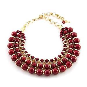Chokerhalskette mit Harzkugeln und Aluminium.Kurze Halskette Frau, rote Farbe.Valentinstag Geschenk für sie.