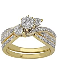 PARSHVA DIAM 1.45 CT Round Cut Cubic Zirconia Wedding Ring Band In 14K Yellow Gold 925 Sterling Silver [PARSHVA...