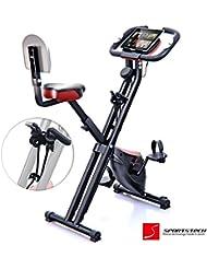 Sportstech F-Bike X100 & X150 - 4in1 Heimtrainer - X Bike - einzigartiges Zugbandsystem - Handpulssensoren - Ergometer - Hometrainer - Faltbares Fitness-Fahrrad - Tablethalterung Rückenlehne klappbar