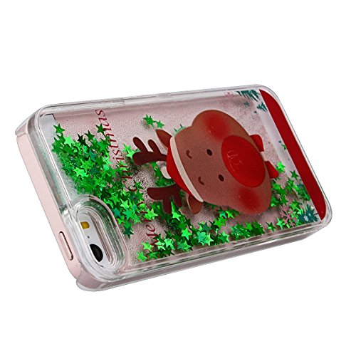 GrandEver Hart Handyhülle für iPhone SE/5S/5 Tasche Durchsichtig Hülle Flüssiges Case 3D Fließen Flüssig Bling Schwimmend Treibsand Ultra Dünnen Glitzer Glänzend Schutzhülle Bling Transparent Hardcase Merry Christmas