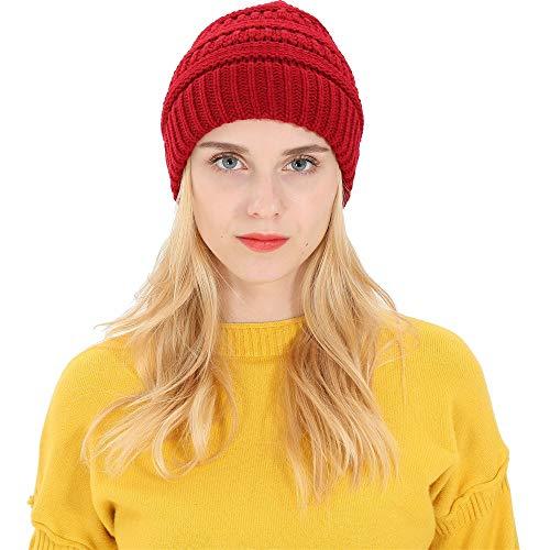 DEELIN Männer Damen Baggy Warm Crochet Winter Wolle Stricken Ski Beanie Skull Slouchy Caps Hut (J-Wein) Beanie Winter Ski Hut