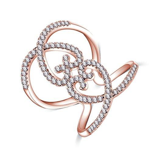 Epinki Damen Ewigkeit Ringe Heiratsantrag Ring Trauringe Cubic Zirkonia Blumen Kristall Rose Gold Gr.62 (19.7) (Fischer Kostüm Ideen)