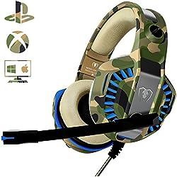 Casque PS4 Gaming avec Micro, Beexcellent Casque Xbox one Professionnel StéréoContrôle de Volume pour PC Ordinateur Portable, Mac (Camouflage 2)