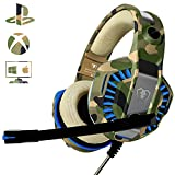 Gaming Headset f�r PS4 PC, Beexcellent Profi-Spieler s Choice Super Komfortable Stereo Bass 3.5mm LED Camouflage Kopfh�rer mit Mikrofon f�r Xbox One, Laptops, Mac, Tablet und Smartphone Bild
