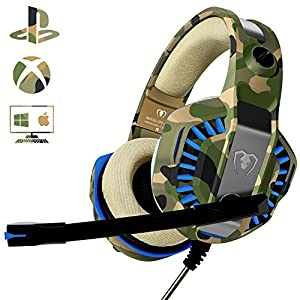 Gaming Headset für PS4 PC, Beexcellent Profi-Spieler s Choice Super Komfortable Stereo Bass 3.5mm LED Camouflage…