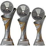 KDS FG Pokal M Trophäe Federball Badminton mit Emblem 70 mm aus Resin Kunstharz massiv ca. 24,5 cm hoch
