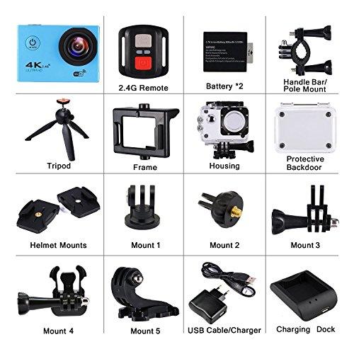 Cámara Acción Deportiva Ultra HD 4K 16MP WiFi Impermeable DV Videocámara Acuática 2.0