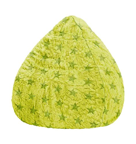 lifestyle4living Sitzsack aus Webplüsch in grün mit Sternenmotiv, Beanbag Fluffy Stars L Füllung aus 100{a52b4cf6d95a119e305b90c911ed970ed564b2546ec8eb9400424aa388e4a516} EPS-Perlen, 220 l Volumen, Maße B/H ca. 70/110 cm