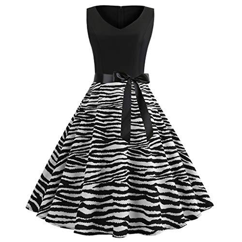 Style-dress-Robe Femme Damen Vintage Rockabilly Kleid, Frauen Vintage 1950er Jahre Retro ohne Ärmel O-Cou Punktdruck Party Prom Schaukel Kleid S Noir-2 - Baby Schaukel Gürtel