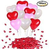 Konsait Perle Latex Luftballons ROT Weiß und Rosa Herzballons(60 Stück) & Rosenblätter rosenblüten rot für Party Hochzeit Dekoration