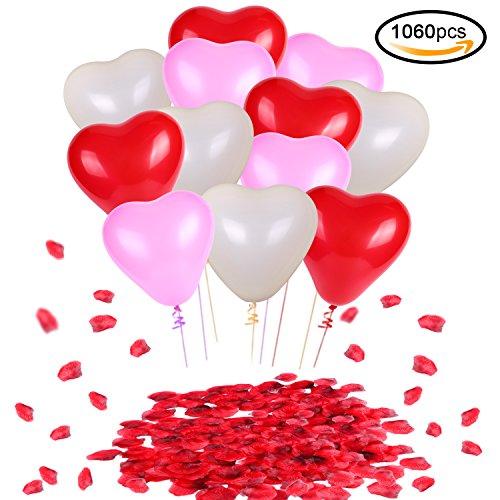 Konsait palloncini colorati a forma di cuore lattice palloncini rosso bianco e rosa matrimoni decorazione (60pcs) & rosso seta petali di rosa (1000pcs) per matrimoni, anniversari, compleanno