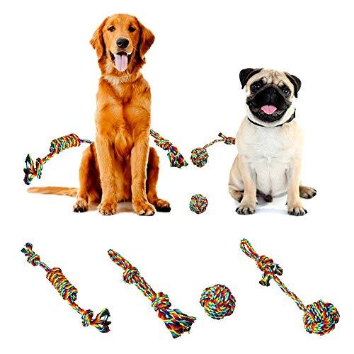 Catkoo, Giocattolo da Masticare per Cani, Accessori per Cani, Giocattoli da Masticare, per la Pulizia dei Denti, 4 Pezzi, Colore Arcobaleno, Giocattolo per la dentizione, Colore Arcobaleno