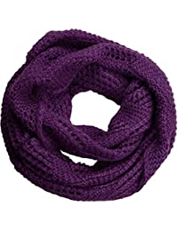 NEOSAN Women Warm Chunky Ribbed Knit Winter Infinity Loop Scarf Plaid Purple ac6cb236f12d