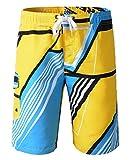 pantalones cortos para hombre colorido del traje de baño de natación pantalones cortos de playa de verano y la natación (XL, Amarillo)