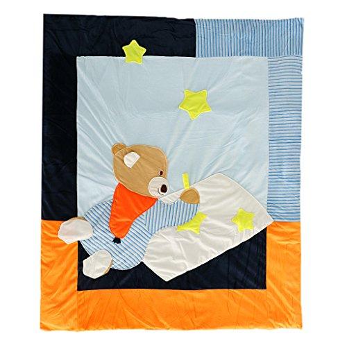 MagiDeal Baby Kinder Bettwäsche 110*130cm Babydecke Kuscheldecke Krabbeldecke Steppdecke - Blau, 110x130 cm, 3.6x4 ft