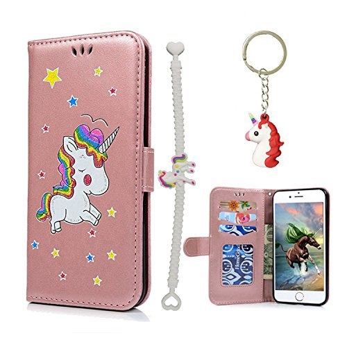 V-Ted kompatibel mit Apple iPhone 7 Plus 8 Plus Flip Case Lederhülle Einhorn Handytasche...