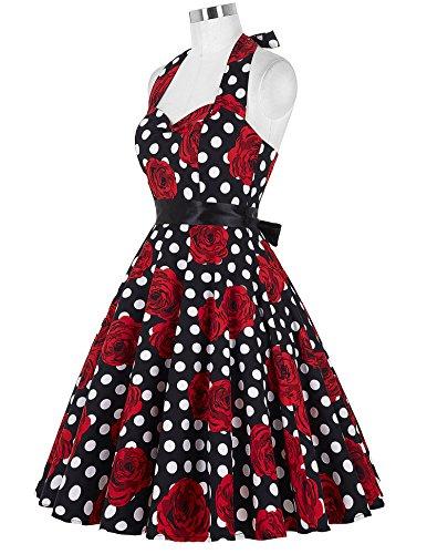 GRACE KARIN Women s Retro 50s Halterneck Rockabilly Dress Floral Pattern  Swing Skater Dress 20Colors d6ef6e18880