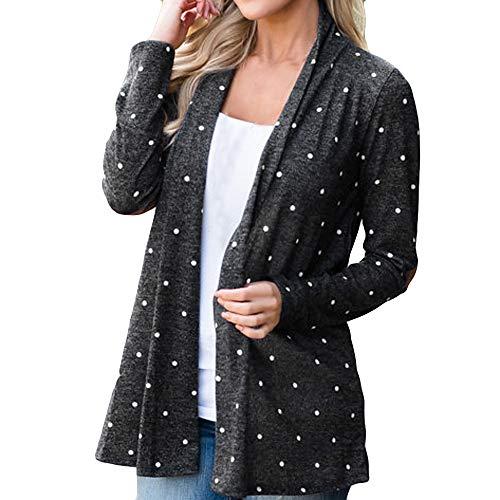 Zolimx Mode Frauen Plus Size Strickjacke Damen Drucken Dot Langarm Bunte Smock Patchwork Mantel