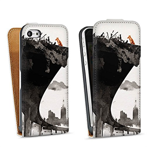 Apple iPhone 5 Housse étui coque protection Horizon Ville Art Sac Downflip blanc
