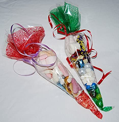 Pack of 100 - Red & Green Mix Clear with Pattern Party Bags - Cone Cellophane Display Bags - 45 micron - 14.5