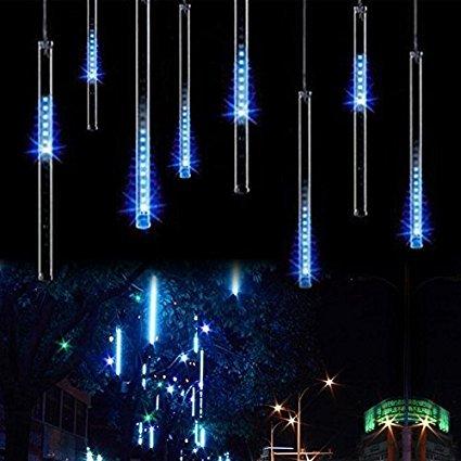 Wasserdichte Meteor Duschlampen, KEEDA 30cm 8 Tube 144 LED Falling Dusche Regen Drop Eiszapfen Schnur Lichter, Weihnachtsbeleuchtung für Weihnachtsfeiertag Baumdekoration (Blau)