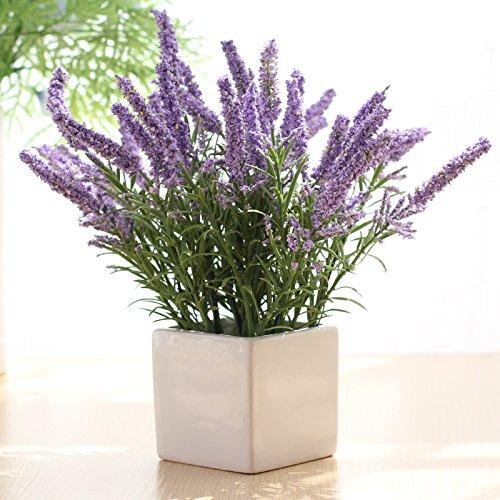 SCLOTHS Künstliche Blumen Seidenblumen Keramik Vasen Seidenblumen Lavendel Lila Home Dekorationen für Braut Hochzeitsstrauß Geburtstag Blumen Hotel Party Garden Decor
