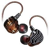 Big-Mountain Bass Kopfhörer | Dual Dynamic Treiber HiFi Ohrhörer | Kupfer Headset Typ In Ohr Silikon Earphone | 4D Metallisches Surround Sound Headset Stereo | Mit Mikrofon | 3,5 mm (Schwarz)