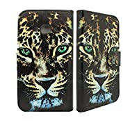 Samsung Galaxy J3 [ 2016 Release ] Case Cover NWNK13ŽWild Cat Protective Leather-Effect Flip Folio Wallet Case Cover with Card Slots