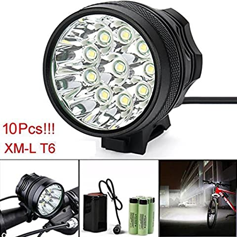 Bicycle Light, TopTen 10x T6 LED 10000 Lumens 3 Modes Ultra Bright Bike LED Headlamp Head Flashlight with Rechargeable Battery and