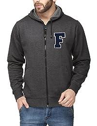 Scott Men's Premium Cotton Flocking Letter Pullover Hoodie Sweatshirt WITH Zip - Charcoal