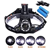 Super Bright Zoomable 4 Modes LED Head Torch, Lennov 5000 Lumens Rechargeable Waterproof Focus Headlight, 3 CREE XM-L T6 LED Headlamp Flashlight Torch for Camping Hunting Hiking Running Walking Cycling Outdoors Light