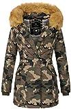 Marikoo Damen Winter Jacke Parka Mantel Winterjacke warm gefüttert B362 [B362-Karmaa-Camo-Gr.L]