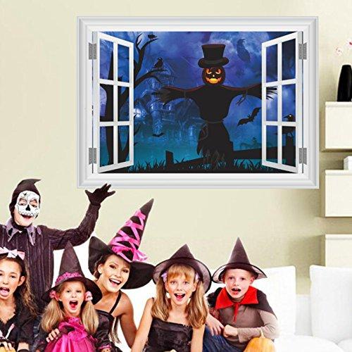 3D Vogelscheuche Dunkelheit Schloss Wandaufkleber Fensterabziehbild DIY Wandgemälde Halloween Dekor St-St & Stashion Stoite Stoite ein Zimmer, Storn mit Storn, Stornierung, (Diy Halloween-yard-dekorationen)
