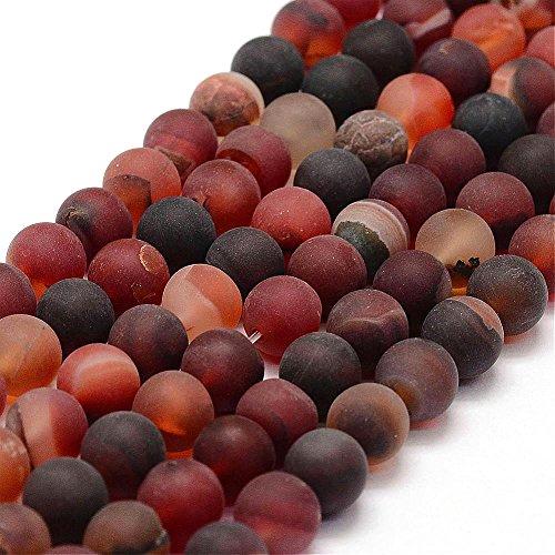 Natürliche Indische Achat Perlen 8mm Frosted Rot Rund Edelsteine Halbedelstein Edelstein Strang Schmuckperlen Schmuckstein Perle Zum Fädeln für DIY Kette Basteln G761