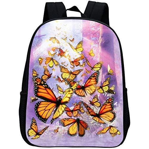 Liabb Schulrucksack für Schüler, Rucksäcke für Kinder Rucksack für Kinder Schulrucksäcke einstellbar Grundschulkind Mädchenbuch im Rucksack,Butterfly,30 * 24 * 12CM