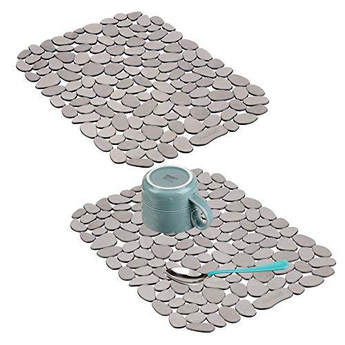 mDesign 2er-Set Spülbeckeneinlage zum Zuschneiden - praktische Spülbeckenmatte aus PVC für die Küche - Spülbecken Schutzmatte für Geschirr und Becken - grau