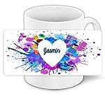 Herzkissen mit Namen Jasmin und schönem Motiv mit Wasserfarben-Herz zum Valentinstag - Herzkissen personalisiert Kuschelkissen Schmusekissen 7