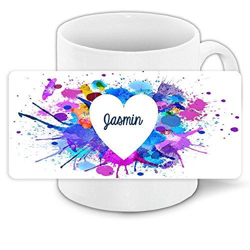 Tasse zum Valentinstag mit Namen Jasmin und schönem Motiv mit Wasserfarben-Herz - Liebestasse Keramiktasse Freundschafts-Tasse 5